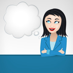 thinking business woman with cloud as blank template