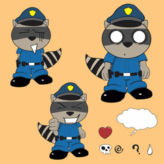 raccoon kid policeman cartoon set