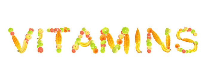 Word Vitamins made of fruits isolated on white