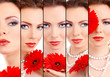Beautiful young woman with red flower in collage