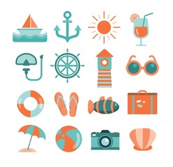 vector set of sea and beach icons