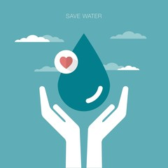 vector concept illustration of hands holding water drop