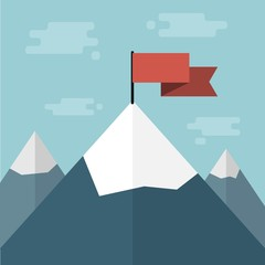 vector red flag on mountain top