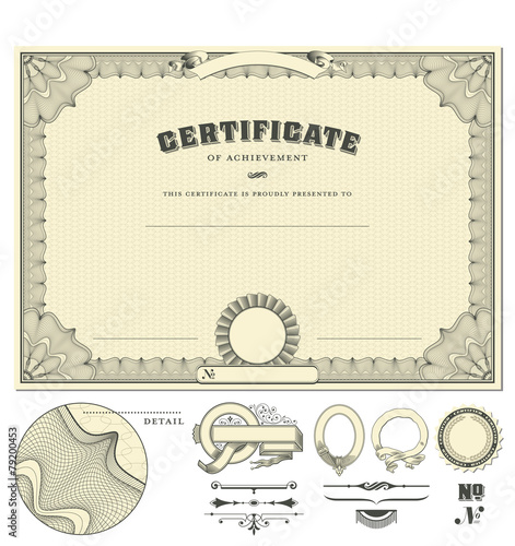classical certificate with guilloche border, add. elements - 79200453