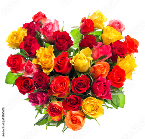 Colorful roses bouquet in heart shape on white background