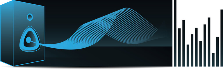 Vector illustration of speaker with abstract sound wave