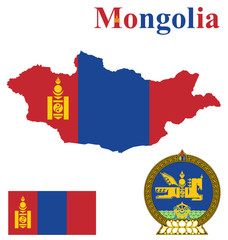 Flag and national coat of arms of Mongolia