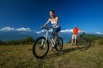 Biker family in Himalaya mountains, Anapurna region