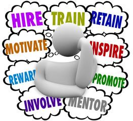 Hire Train Motivate Reward Inspire Retain Thought Clouds Keep Em