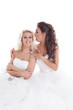 Image of cute brides fooling around at camera
