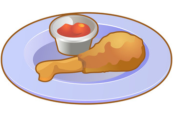 Drumstick chicken with sauce on plate