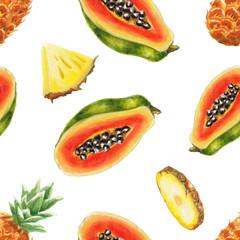 watercolor papaya and pineapple pattern