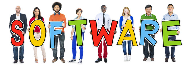 DIverse People Holding Text Software Concept