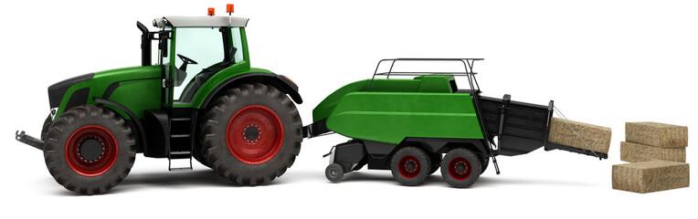 Traktor mit einer Grosspackenpresse