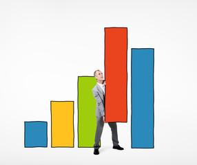Businessman Working Bar Graph Information Concept