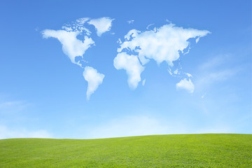 green field with cloud with world map shape