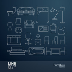 Set of furniture line icons, vector illustration