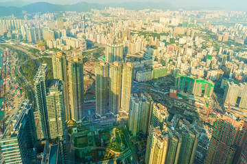 Cityscape of Hong Kong bird view from sky100.