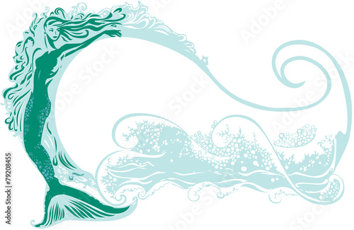 Mermaid with a wave background - 79208455