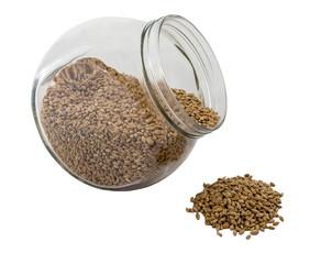 Wheat grain drops out the tare