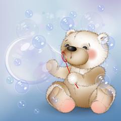 Bear blows bubbles