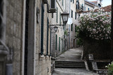 narrow streets of the old European city landscape