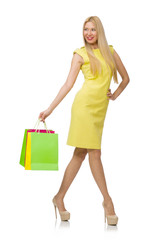 Woman with many shopping bags on white