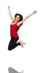 Young woman doing sport exercises isolated on white