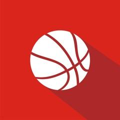 Icono balón baloncesto rojo sombra