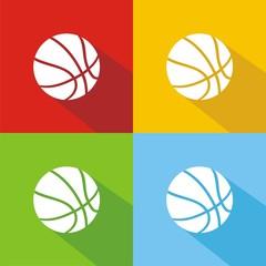 Iconos balón baloncesto colores sombra
