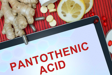 Tablet with words Pantothenic acid. Healthy eating.