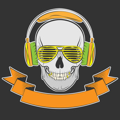 skull with headphones and sunglasses