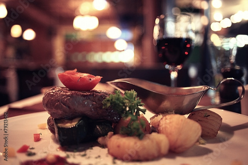 food in the restaurant, table, background - 79213482