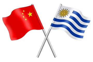 Flags: China and Uruguay