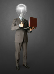 Full length portrait of lamp-head businessman with laptop
