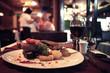 Leinwandbild Motiv food in the restaurant, table, background