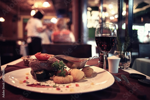 food in the restaurant, table, background - 79215008