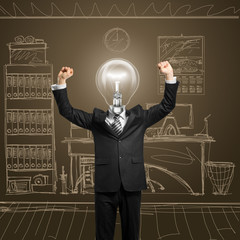 lamp-head businessman with hands up