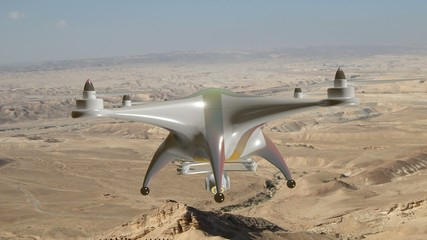 Hovering drone above the desert.