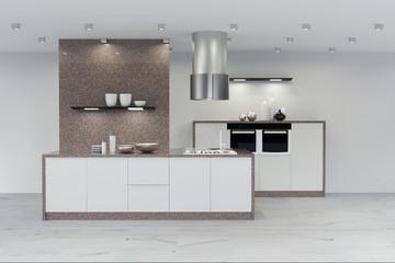 Moderne neue Küche mit Marmor