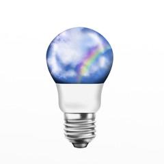light bulb with sky and rainbow