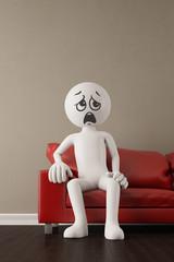 Unzufriedener 3D Mensch jammert