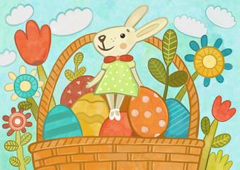 Пасхальный заяц с раскрашенными яйцами
