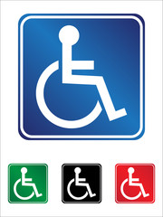 Handicapped wheelchair sign set