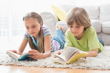 Siblings reading books while lying on rug