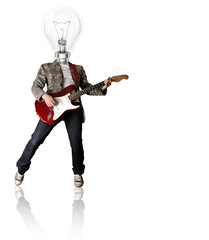 punk with the guitar and lamp-head