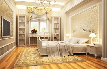 Golden bedroom in classic style