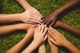 Children keeping hands together over grass