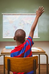 Rear view of boy raising hand in classroom