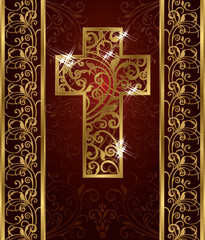 Golden Easter cross, invitation card, vector illustration